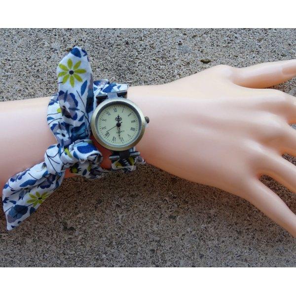 Montre fantaisie  Montre bracelet tissu Liberty Bleu double
