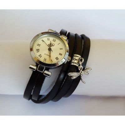 Montre bracelet en 5 tours charme Libellule