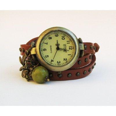 Montre bracelet 3 tours cuir clous Libellule + perle olive