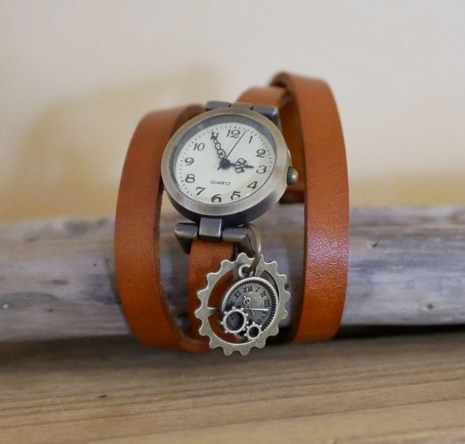 Montre bracelet 3 tours cuir Steampunk