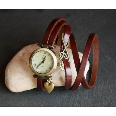Montre bracelet 5 tours cuir Love