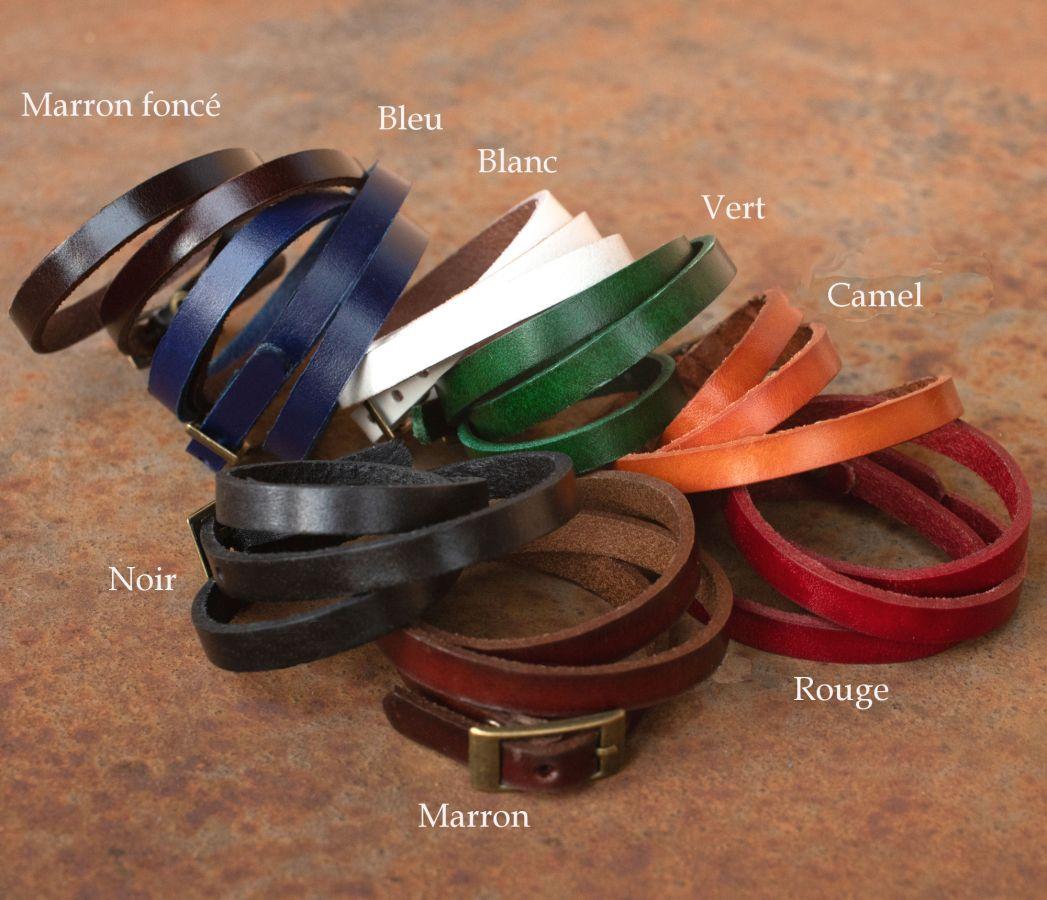 Montre bracelet triple cuir Blanc perles blanches