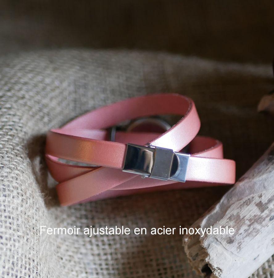 Montre bracelet triple tour personnalisable au cadran bronze