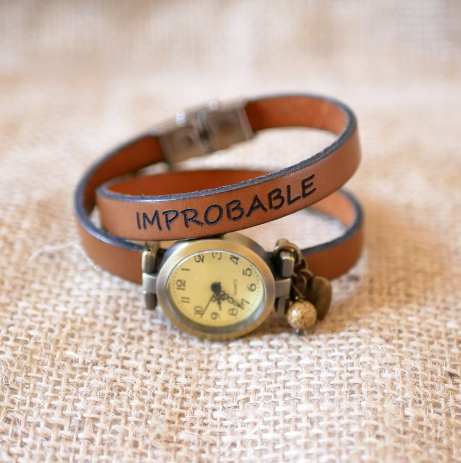 Montre bronze bracelet cuir 2 tours fermoir ajustable