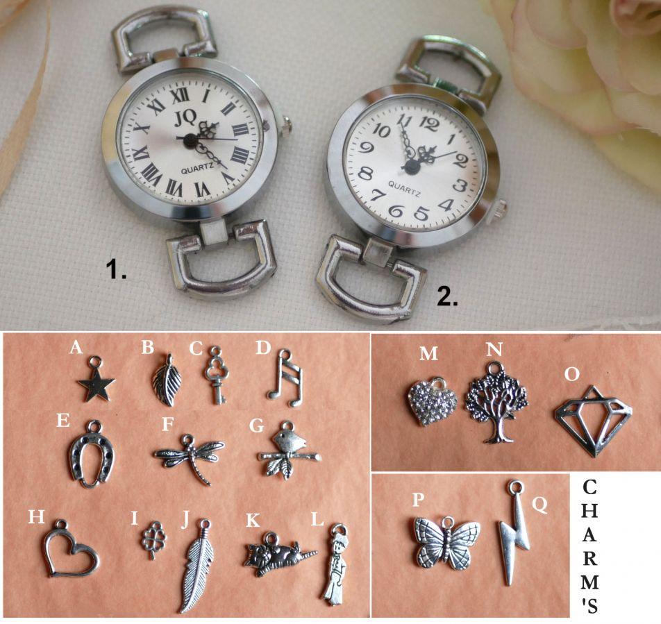 Montre cabochon en bois gravé au double bracelet cuir ou liege