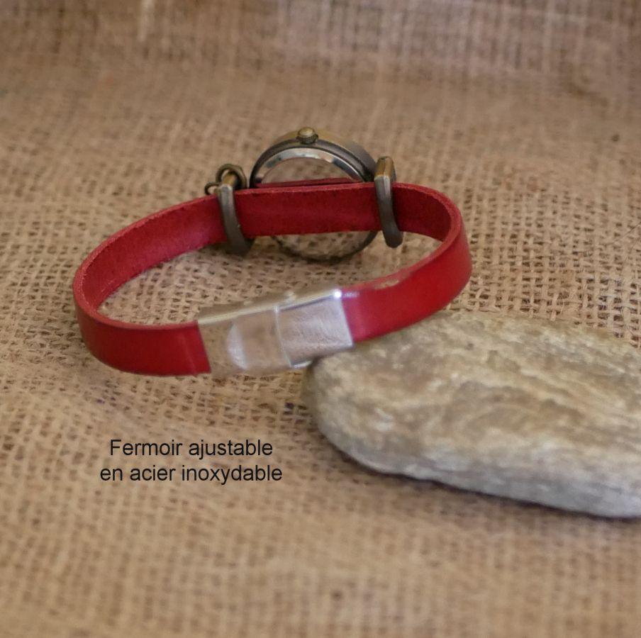 Montre cadran bronze bracelet cuir personnalisable