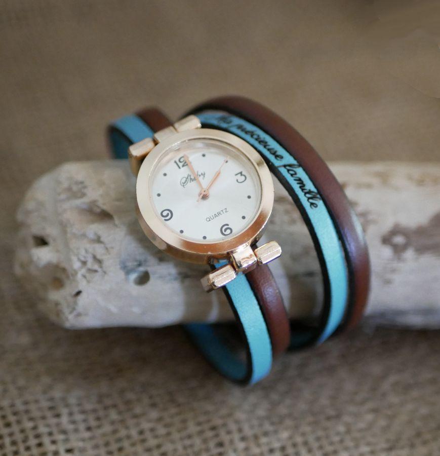 Montre cadran Or rose au bracelet double tour à personnaliser