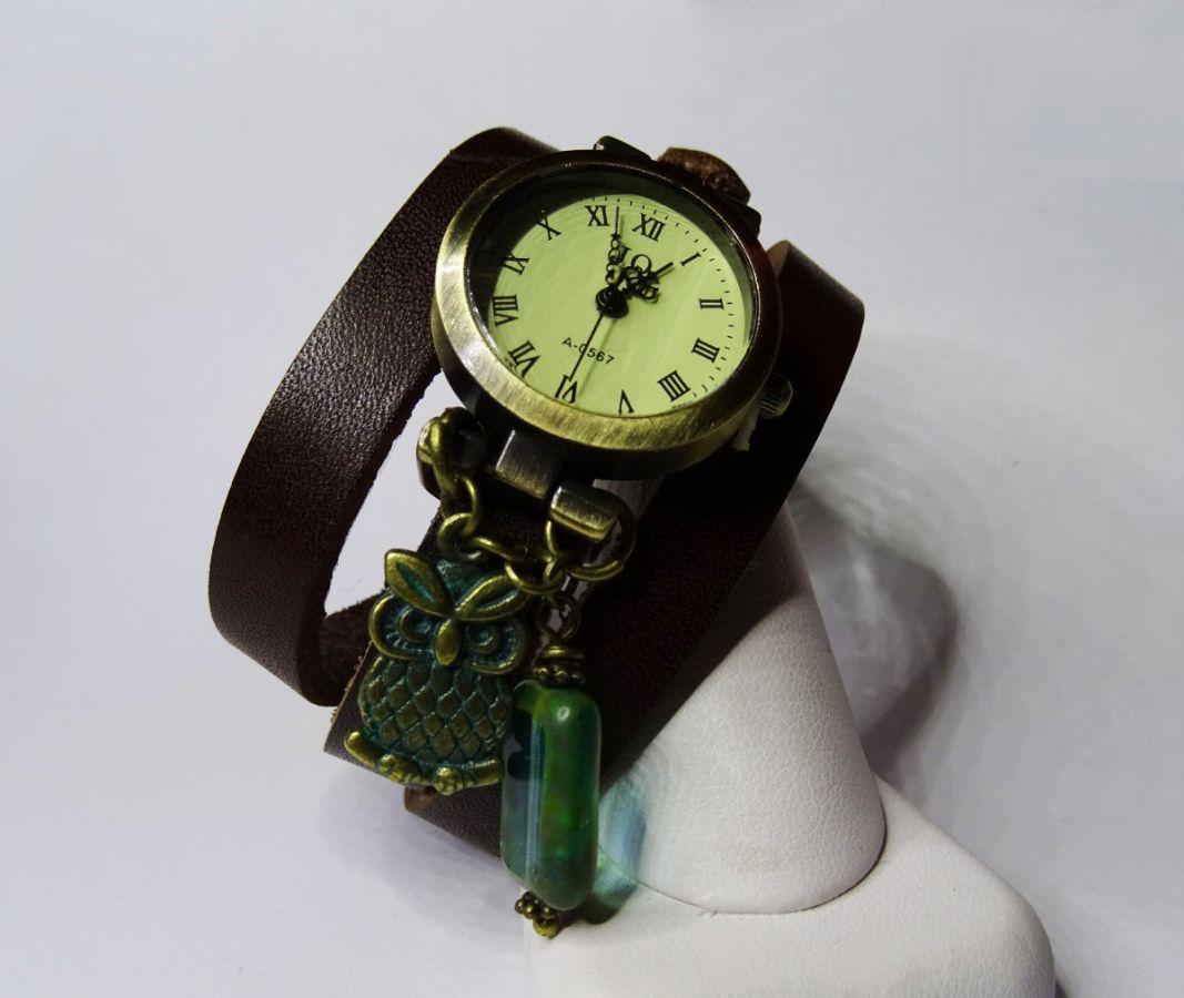 Montre Chouette patinée et perle Bohème bracelet cuir