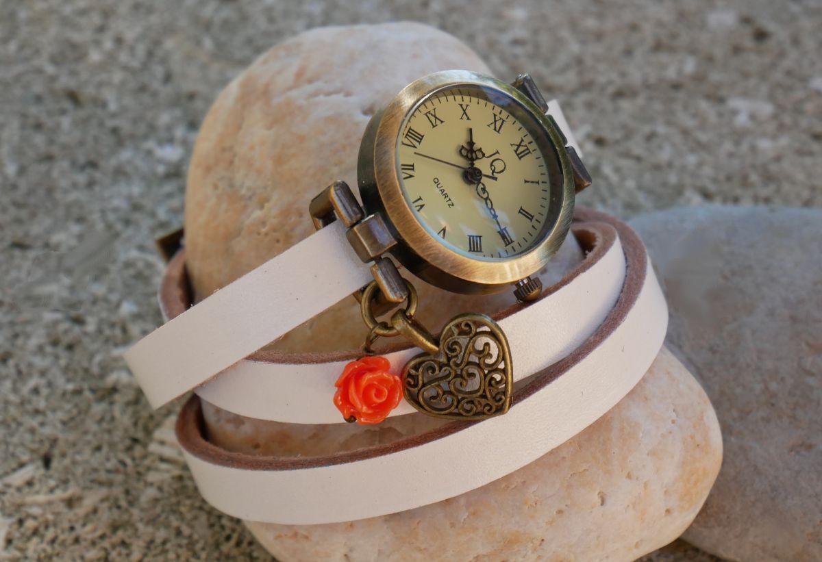 Montre Coeur et rose au choix, bracelet cuir