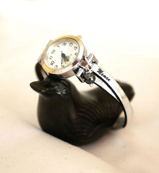 Montre cuir femme avec breloque perle personnalisable Cadeau Fête des Mères