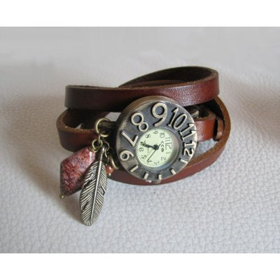 Montre  cuir Marron  cadran original Plume et pierre
