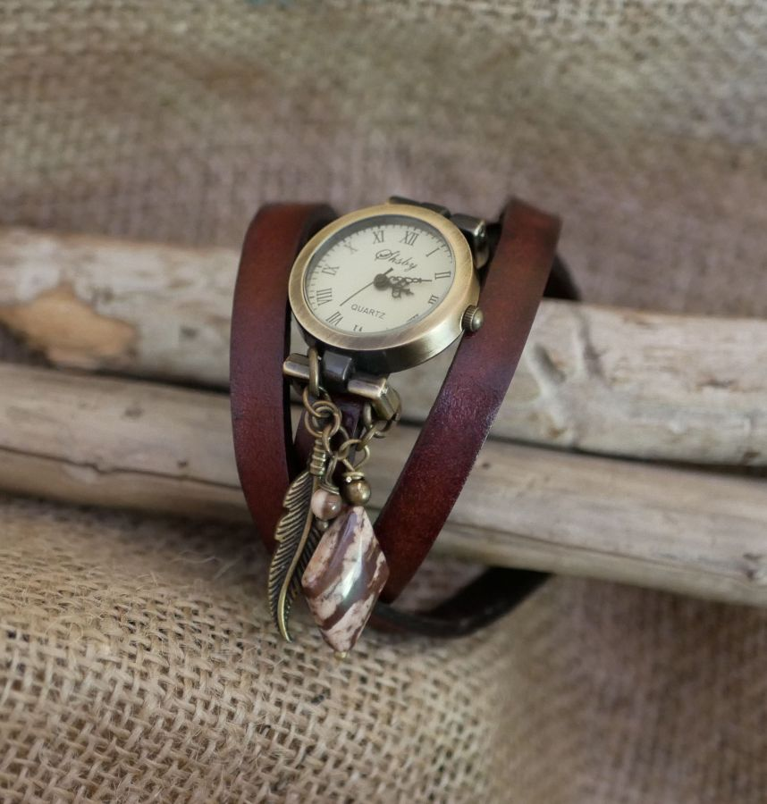 Montre femme bracelet cuir Cappucino