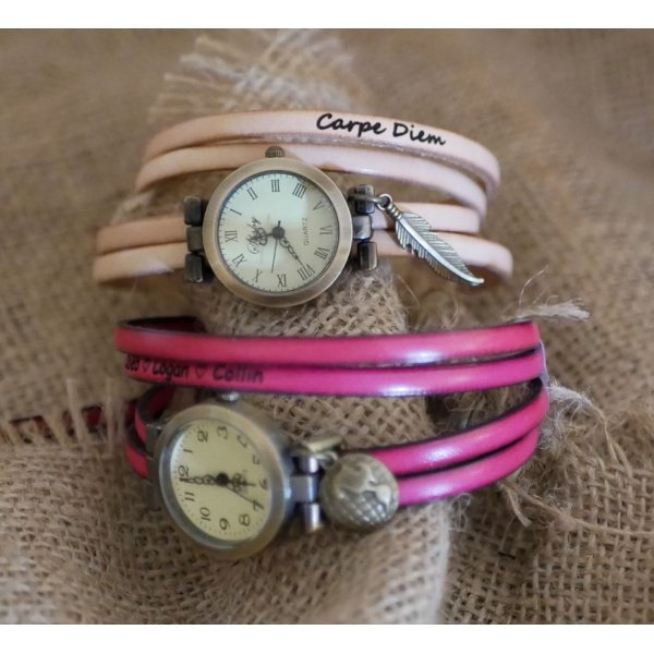 Montre femme ou fille au bracelet multi tours en cuir au choix