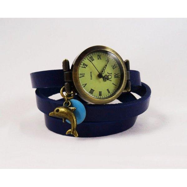 Montre fille bracelet cuir bleu Dauphin