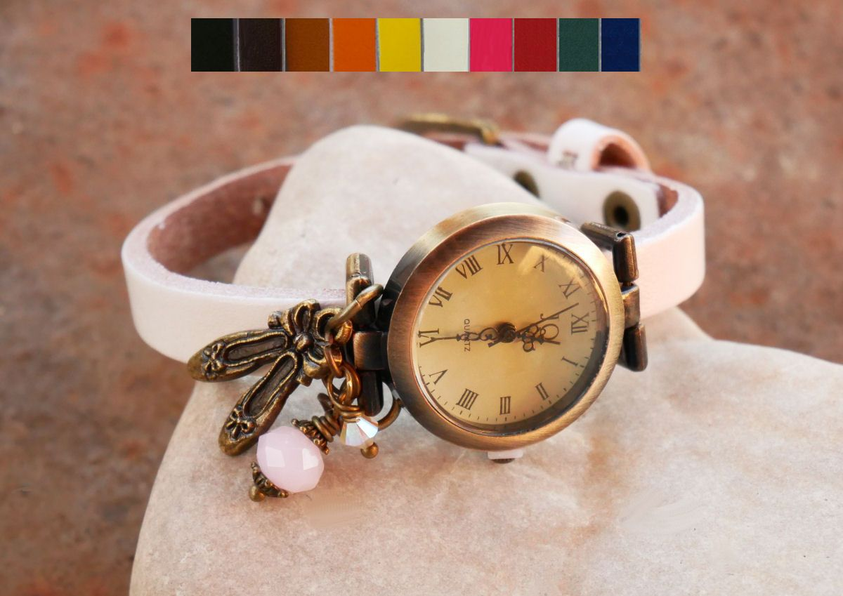 Montre fille bracelet cuir charme chaussons de danse