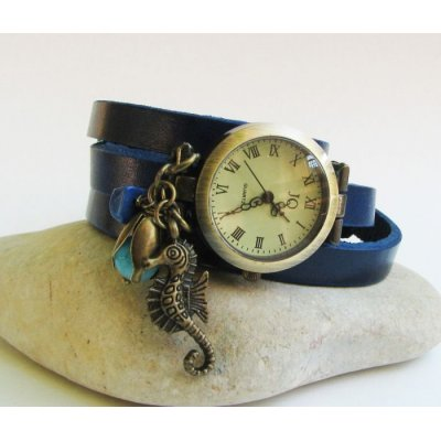 Montre Hippocampe bracelet cuir bleu 3 tours