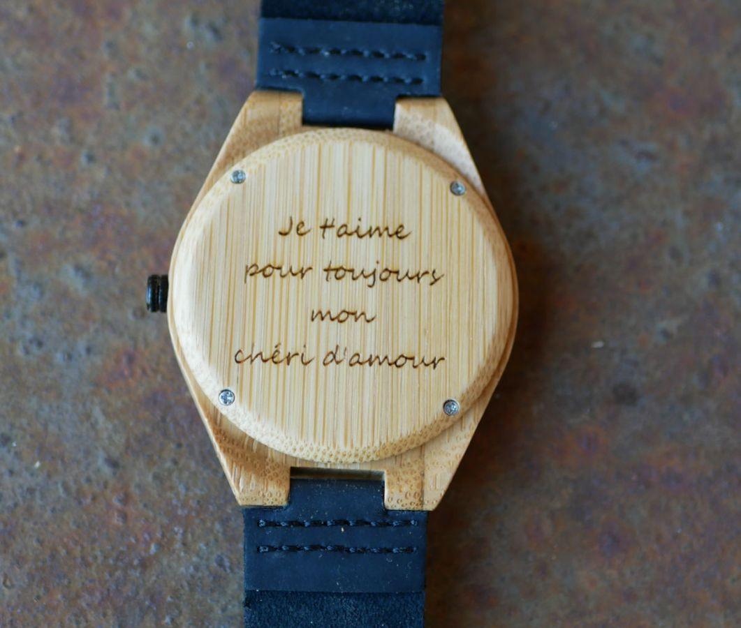 Montre homme bambou sur bracelet cuir Noir à personnaliser