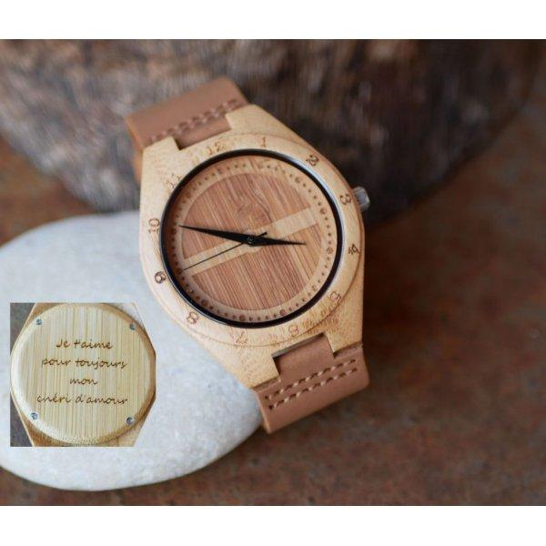 Montre homme bambou gravé sur bracelet cuir marron à personnaliser