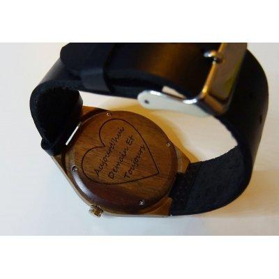 Montre cadran noyer sur cuir Noir à personnaliser
