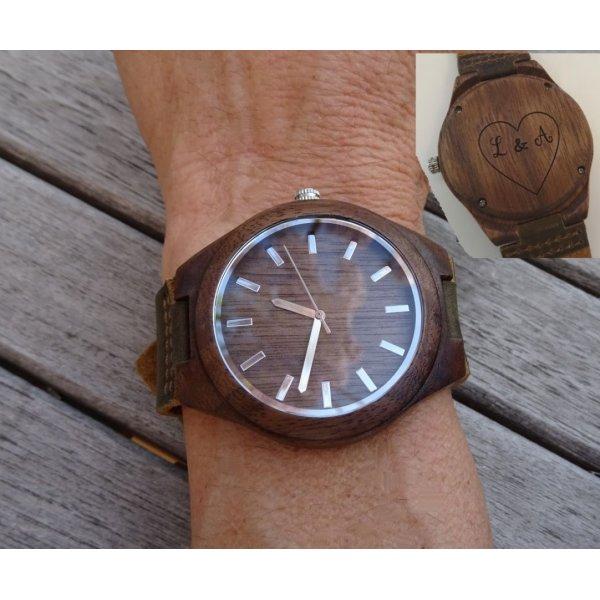 montre bois bracelet cuir