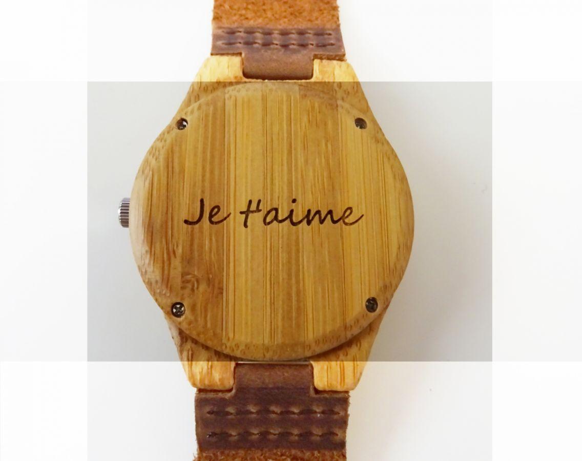 Montre homme cadran bambou bracelet cuir