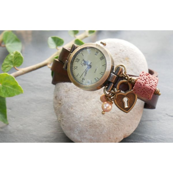 Montre avec Pierre de lave carrée diffuseur bracelet cuir