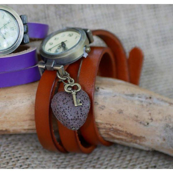 Montre avec Pierre de lave diffuseur bracelet cuir
