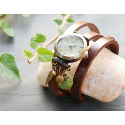 Montre avec Pierre de lave Vert diffuseur bracelet cuir