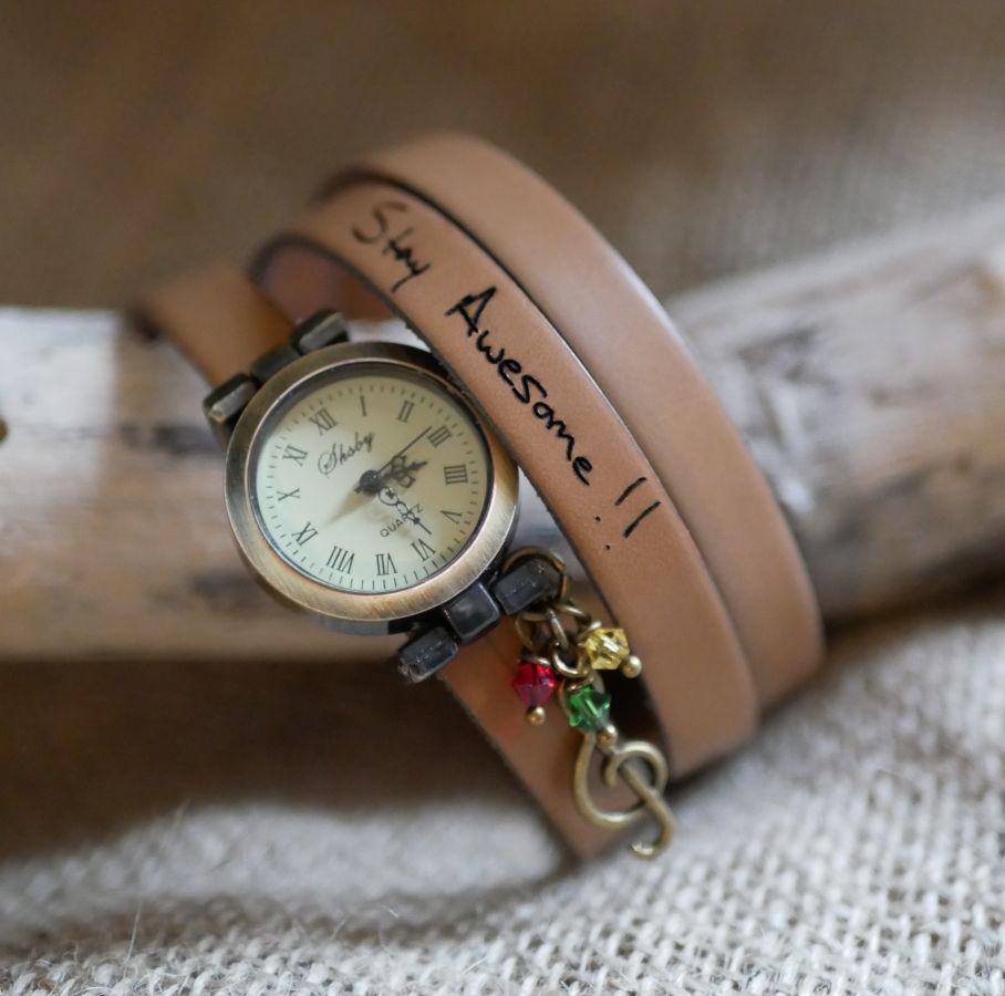 Montre style Rasta Reggaeb bracelet cuir 2 ou 3 tours fermoir ajustable