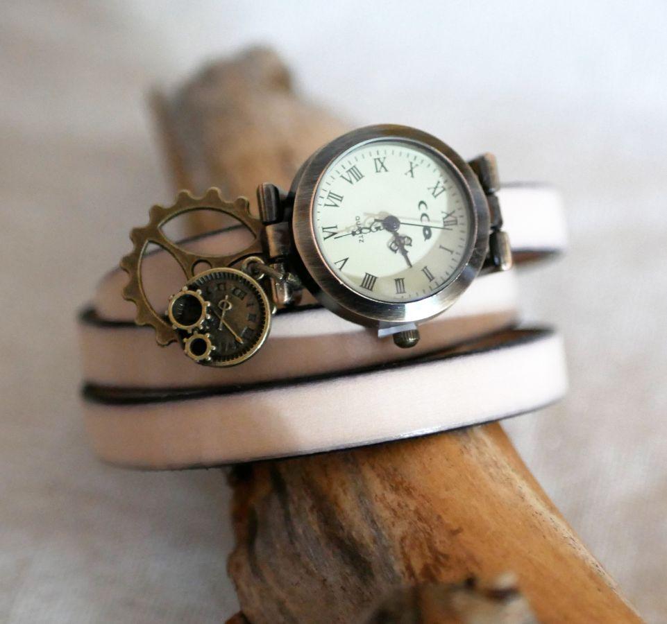 Montre style Steampunk bracelet personnakisé en cuir 2 ou 3 tours