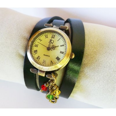 Montre triple cuir Marron  Rasta Reggae
