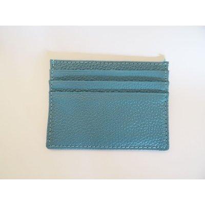 Porte-cartes en cuir bleu ciel