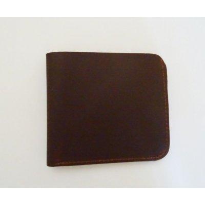 Porte-cartes en cuir épais Marron gravé