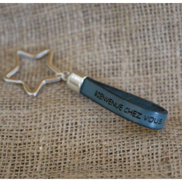 Porte-clefs en cuir personnalisable nom téléphone message