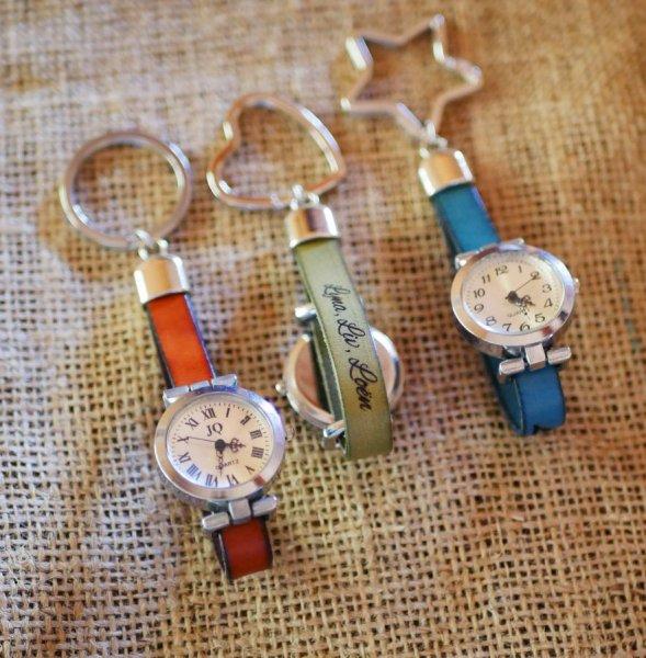 Porte-clé en cuir avec cadran montre personnalisable