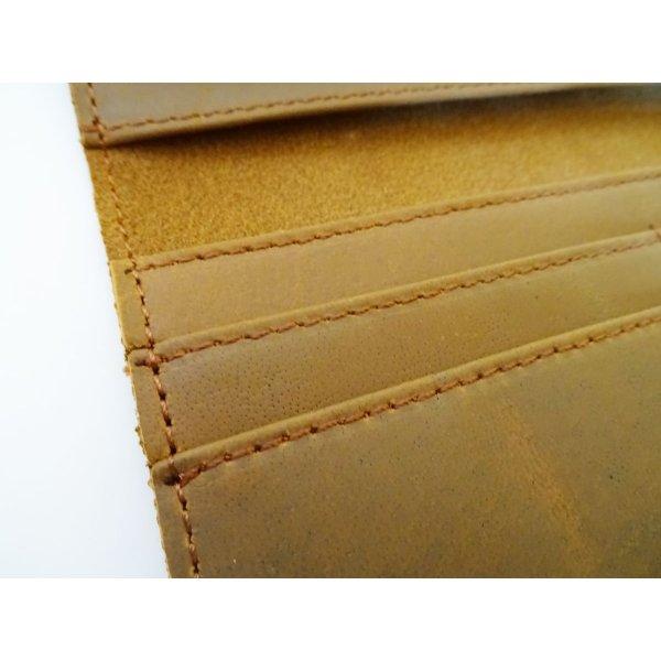 Porte-feuilles en cuir épais Marron-camel
