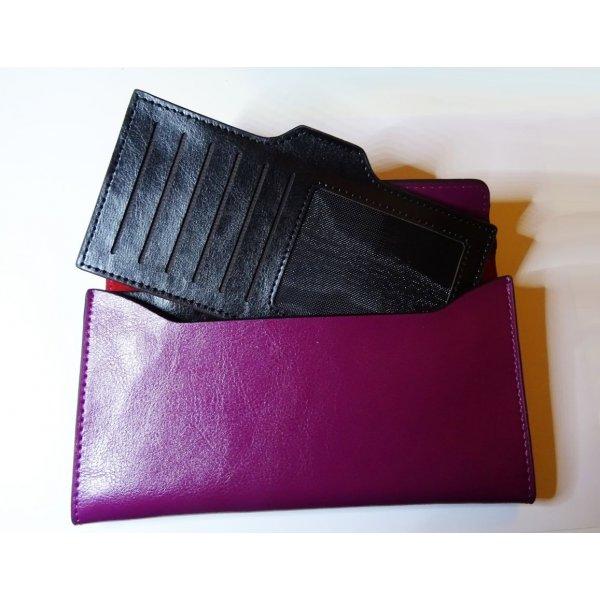Porte-feuilles en cuir violet style pochette à personnaliser
