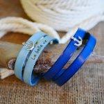 Bracelet cuir double tours de poignet décor ancre marine personnalisable