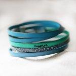 Ensemble de bracelets cuir à empiler personnalisables tons bleus et verts