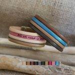 Bracelet manchette en cuir pour femme personnalisable message gravé