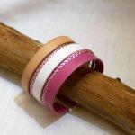 Bracelet manchette multi cuir Rose et Blanc