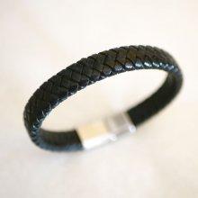 Bracelet cuir noir tressé homme fermoir acier brossé magnétique