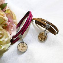 Bracelet cuir personnalisé avec Cabochon en bois gravé