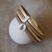 Bracelet cuir double en duo avec breloques sequin blanc