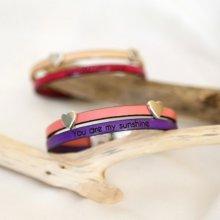 Bracelet cuir en duo passants coeurs personnalisable femme