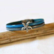 Bracelet pour femme duo de cuir et passant Etoile de mer personnalisable