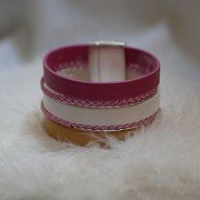 Bracelet manchette multi-cuir rose et blanc