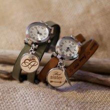 Montre argent double bracelet cuir ou liege avec Cabochon en bois à graver