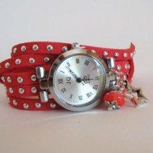 Montre bracelet double corail clouté et étoiles