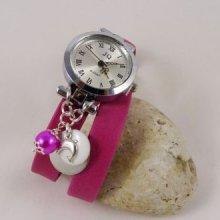Montre bracelet double cuir fuchsia sequins